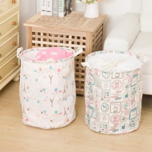 印花棉麻大号可折叠脏衣篮 带提手 衣服玩具收纳桶 厨房