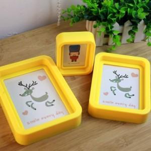 韩国创意卡通动物彩色边框 糖果色相框相架(6寸) 黄色