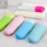 糖果色便携式洗漱牙刷盒 牙具盒 出差旅行必备牙刷牙膏收纳盒 玫红+透明