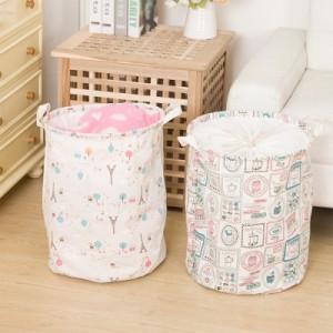 印花棉麻大号可折叠脏衣篮 带提手 衣服玩具收纳桶 蓝塔