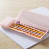 韩国文具 学习用品磨砂半透明文具盒 PP塑料铅笔盒(大号)JY064 白色