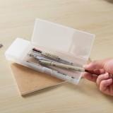 韩国文具 学习用品磨砂半透明文具盒 PP塑料铅笔盒(小号)JY065 白色