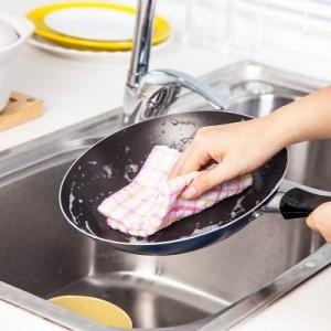 英伦格子全棉洗碗巾厨房抹布 不掉毛不沾油吸水毛巾清洁布(小号) 蓝色