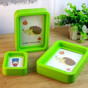 韩国创意卡通动物彩色边框 糖果色相框相架(5寸) 浅蓝色