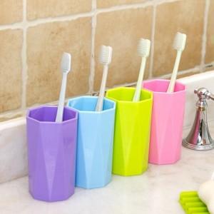 超立体简约创意漱口杯 糖果色八角杯 优质PP刷牙洗漱杯 绿色