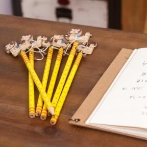 韩国文具创意木质卡通弹簧摇头铅笔 木制笔 6支装-小狮子