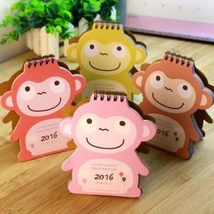 可爱卡通小二猴台历 15个月桌面台历日历(2015.10-2016.12)