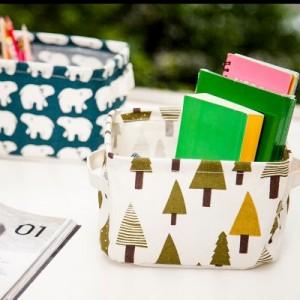 清新印花棉麻带提手桌面杂物收纳筐 橱柜小衣物布艺收纳篮 北极熊