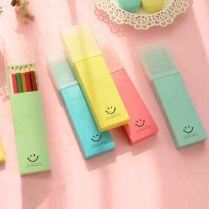 微笑推盖文具盒学习用品 铅笔盒(8款)YF14-117 深蓝色