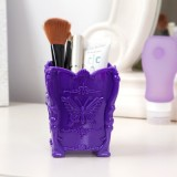 八零良品 时尚复古蝴蝶雕花立体桌面化妆收纳盒 笔筒 紫色