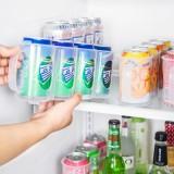 省空间易拉罐整理架储物盒厨房用品手拉式4节冰箱饮料收纳盒