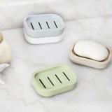 日系清新加厚塑料沥水香皂盒 带盖创意旅行肥皂盒 灰蓝色