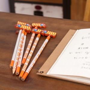 韩国文具创意木质卡通弹簧摇头铅笔 木制笔 6支装-汽车