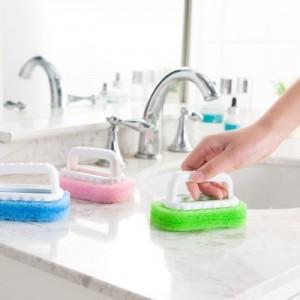 卫浴清洁带手柄去污刷 加厚型浴缸刷 海绵刷子 粉色