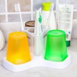 半透明磨砂洗漱杯套装 牙膏牙刷架 漱口杯 三口之家牙具座-3杯 JW-7082 绿橙咖