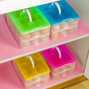 创意便携式鸡蛋盒 冰箱鸡蛋收纳盒 多功能储物盒(三层) 红色