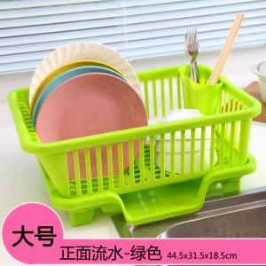 正面漏水 大号厨房沥水碗盆架/滴水碗碟收纳架 绿色 16个/件