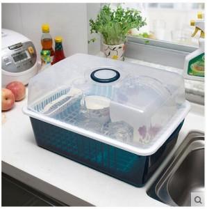 带盖塑料碗柜 厨房沥水碗碟架 餐具收纳架   墨绿