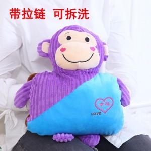 防爆热水袋 高档卡通毛绒充电暖手宝 幸福坐姿猴 紫猴+蓝