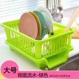 侧面漏水 大号厨房沥水碗盆架/滴水碗碟收纳架  绿色 16个/件