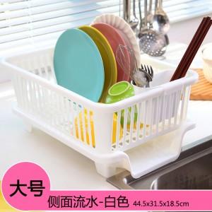 侧面漏水 大号厨房沥水碗盆架/滴水碗碟收纳架  白色 16个/件