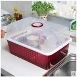带盖塑料碗柜 厨房沥水碗碟架 餐具收纳架  酒红