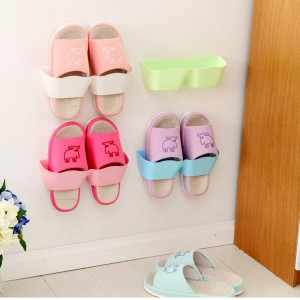 客厅卫浴挂壁式收纳架波浪分隔立体鞋架墙体层架 粉色 560一件
