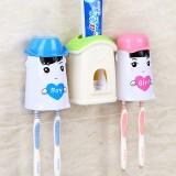 爱の小屋自动挤牙膏器套装 爱情公寓洗漱三件套 绿色小屋+蓝粉杯