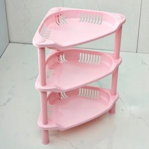 卫浴三层三角置物架 塑料收纳层架 三角落地架子 粉色 56个/箱