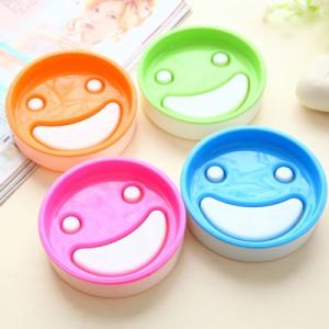 韩版糖果色双层圆形笑脸香皂盒 肥皂架  混色