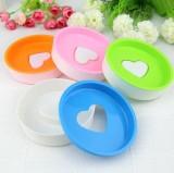 韩版糖果色双层圆形爱心香皂盒 肥皂架 混色