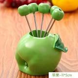韩版仿真树脂水果叉子套装 零食叉 水果签--青苹果