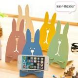韩版超萌越狱兔木质手机支架 懒人手机架 白色
