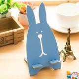 韩版超萌越狱兔木质手机支架 懒人手机架 蓝色