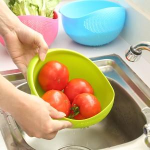 炫彩加厚厨房洗米器 淘米篮 水果盆  洗米筛  大号  绿色 100个/箱