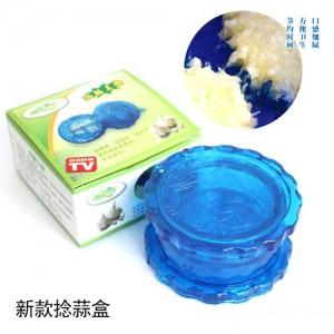 彩盒装 多用捻蒜盒 捣蒜器 透明蓝