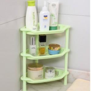 卫浴三层三角置物架 塑料收纳层架 三角落地架子  绿色 56个/箱