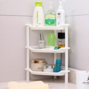 卫浴三层三角置物架 塑料收纳层架 三角落地架子 白色 56个/箱