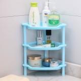 卫浴三层三角置物架 塑料收纳层架 三角落地架子 蓝色 56个/箱