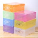 糖果色加厚翻盖式塑料鞋盒 透明pp抽屉鞋盒 多色选 400/件