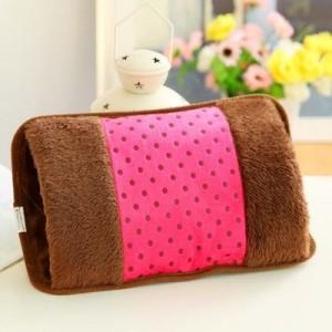 高档加棉 毛绒枕形双插手电热水袋 点子布充电防爆暖手宝 西瓜红