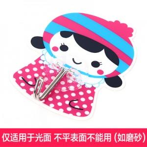 强力粘钩 韩版女孩卡通可水洗无痕挂钩 铁钩 粉色帽子   250个一盒   1000个一箱