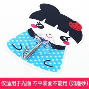 强力粘钩 韩版女孩卡通可水洗无痕挂钩 铁钩 蓝色草莓   250个一盒   1000个一箱