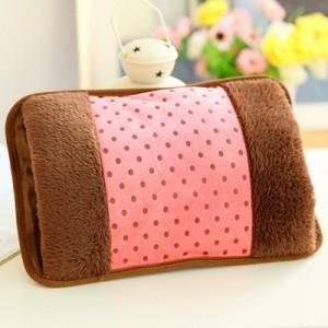 高档加棉 毛绒枕形双插手电热水袋 点子布充电防爆暖手宝 浅粉色