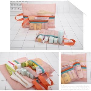 韩版旅行网格收纳四件套 加厚网眼洗漱化妆衣物整理袋 粉色