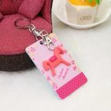 韩国可爱卡片包/钥匙扣立体公交卡套-粉色木马