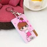 韩国可爱卡片包/钥匙扣立体公交卡套-粉色女孩
