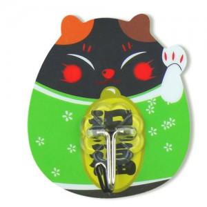 强力粘钩 招财猫卡通可水洗无痕挂钩 铁钩 绿色250一盒   1000个一箱