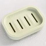 日系清新加厚塑料沥水香皂盒 带盖创意旅行肥皂盒 浅绿色