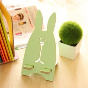 韩版超萌越狱兔木质手机支架 懒人手机架  绿色
